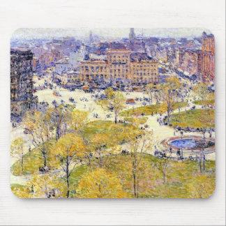 Union Square, Spring, Hassam Vintage Impressionism Mouse Pad