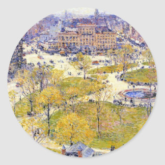 Union Square, Spring, Hassam Vintage Impressionism Round Stickers