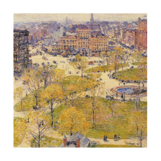 Union Square, Spring, Hassam Vintage Impressionism Wood Canvases