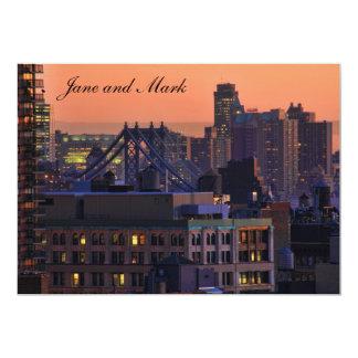 Union Square view of Manhattan Bridge, Pink Sky #1 5x7 Paper Invitation Card
