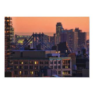 Union Square view of Manhattan Bridge, Pink Sky #2 Card