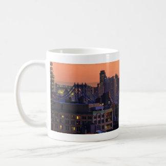 Union Square view of Manhattan Bridge, Pink Sky Classic White Coffee Mug