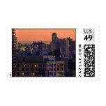 Union Square view of Manhattan Bridge, Pink Sky Postage Stamps