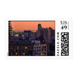 Union Square view of Manhattan Bridge, Pink Sky Stamp