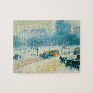 Union Square, Winter, Hassam Vintage Impressionism Puzzle