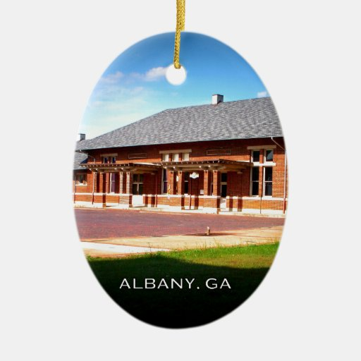 UNION STATION - Albany, Georgia Double-Sided Oval Ceramic Christmas Ornament
