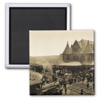 Union Station, Durand, Michigan 2 Inch Square Magnet