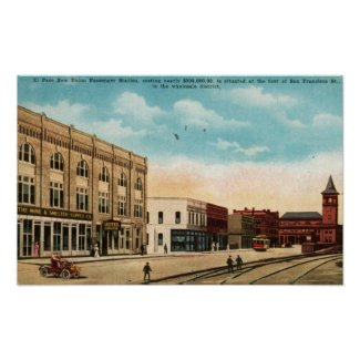Union Station, El Paso, TX 1916 Vintage print