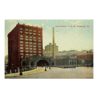 Union Station, Pittsburgh PA 1910 Vintage Poster