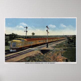 """Unión Streamliner pacífico """"ciudad de Denver """" Póster"""