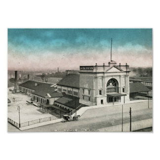 Union Train Station, Omaha 1910 Vintage Poster