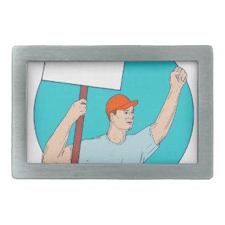 Union Worker Activist Placard Protesting Fist Up C Belt Buckle