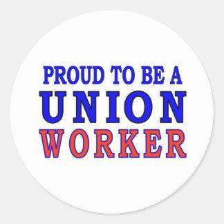 UNION WORKER CLASSIC ROUND STICKER