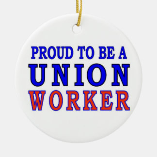 UNION WORKER Double-Sided CERAMIC ROUND CHRISTMAS ORNAMENT