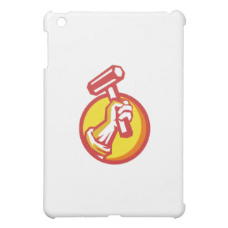 Union Worker Hand Holding Hammer Circle Retro iPad Mini Cover