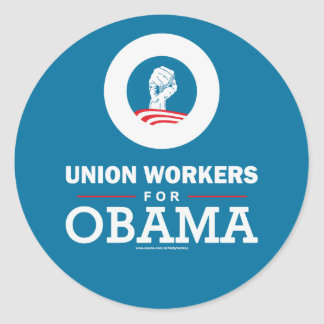 Union Workers for Obama Classic Round Sticker