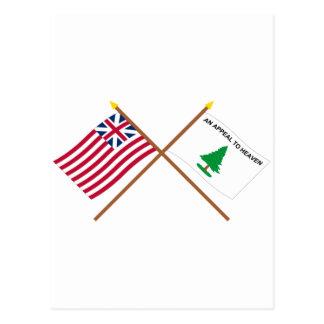 Unión y bandera magníficas cruzadas de los tarjeta postal