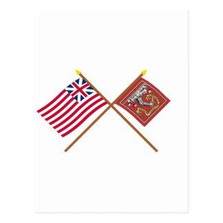 Unión y banderas magníficas cruzadas de Bedford Tarjetas Postales