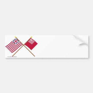 Unión y banderas magníficas cruzadas de Brandywine Etiqueta De Parachoque