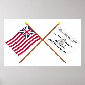 Unión y banderas magníficas cruzadas de Culpeper Póster