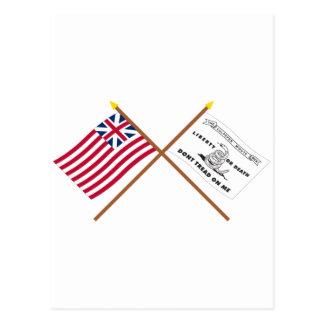 Unión y banderas magníficas cruzadas de Culpeper Tarjeta Postal