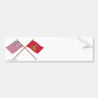 Unión y banderas magníficas cruzadas de Hannover A Etiqueta De Parachoque
