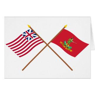 Unión y banderas magníficas cruzadas de Hannover A Tarjeton