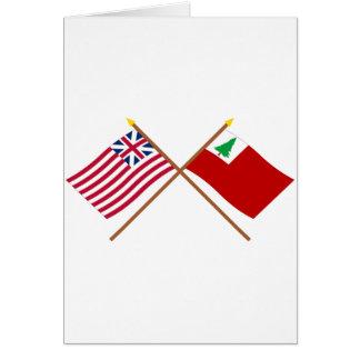 Unión y banderas magníficas cruzadas de Nueva Tarjeta De Felicitación