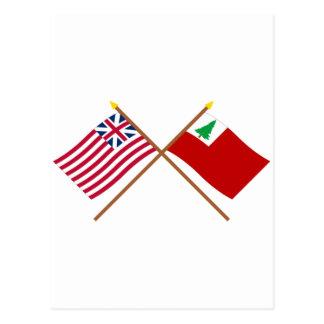 Unión y banderas magníficas cruzadas de Nueva Tarjetas Postales