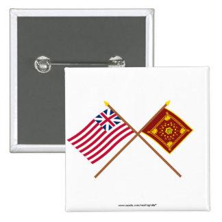 Unión y banderas magníficas cruzadas de Pulaski Pin