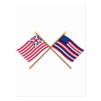 Unión y banderas magníficas cruzadas de Serapis Tarjetas Postales