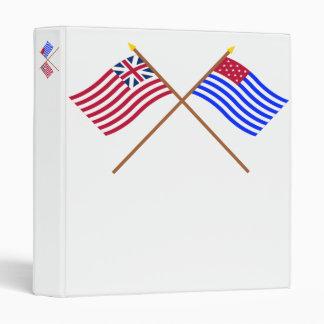 Unión y banderas magníficas cruzadas del sedero de