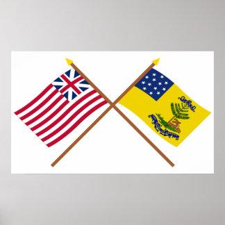 Unión y dólares magníficos cruzados de las bandera impresiones
