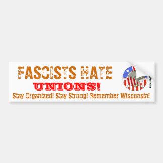 Uniones del odio de los fascistas pegatina para auto