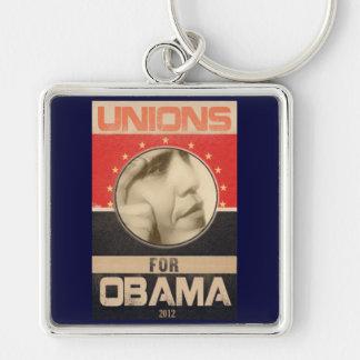 Uniones para el Grunge 2012 de Obama Llavero Cuadrado Plateado