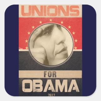 Uniones para el Grunge 2012 de Obama Pegatina Cuadrada