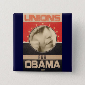 Unions for Obama 2012 Grunge Button