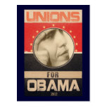Unions for Obama 2012 Grunge Postcard