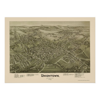 Uniontown, mapa panorámico del PA - 1897 Póster