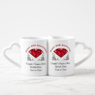 Unique 40th Anniversary Gifts PERSONALIZED Coffee Mug Set