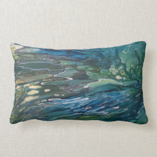 Unique Abstract Coastal River Blue Pillow by Juul