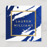"""Unique Abstract Indigo Blue Brushstrokes Square Business Card<br><div class=""""desc"""">Inky, indigo blue paint brushstrokes create an abstract backdrop on this designer square business card template. Your name or business name is displayed in a faux gold box on the front for a modern aesthetic. This double-sided card allows ample room on the backside for your contact info. A fun, eye-catching...</div>"""