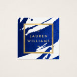 "Unique Abstract Indigo Blue Brushstrokes Square Business Card<br><div class=""desc"">Inky, indigo blue paint brushstrokes create an abstract backdrop on this designer square business card template. Your name or business name is displayed in a faux gold box on the front for a modern aesthetic. This double-sided card allows ample room on the backside for your contact info. A fun, eye-catching...</div>"