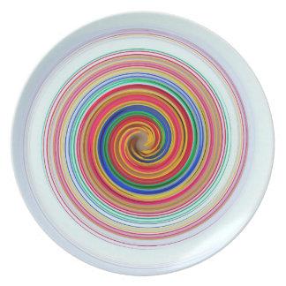 UNIQUE ABSTRACT PLATE,  SLEEK ORANGE BLUE TWIRL DINNER PLATE