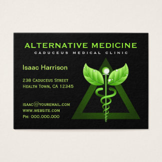 Unique Alternative Medicine Green Caduceus Black Business Card