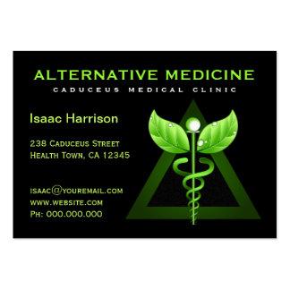 Unique Alternative Medicine Green Caduceus Black Large Business Card