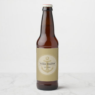 Unique anchor with name and date | Nautical Gifts Beer Bottle Label