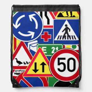 Unique and Colorful European Traffic Signs Collage Drawstring Backpack