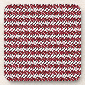 Unique and Cool Red & White Argyle Styled Pattern Coaster