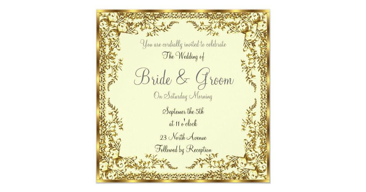 Unique And Elegant Gold Wedding Invitation Zazzle Com